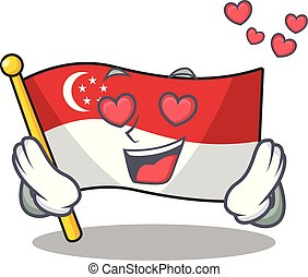 In love flag singapore isolated with the character vector illustration