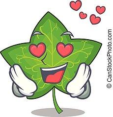 In love fresh green ivy leaf mascot cartoon