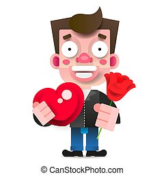 In Love Guy With A Red Rose And A Box Of Chocolates In The Shape Of A Heart Greeting Card For A Girl. Vector Illustration On White Background For Your Web Design Flat vector illustration.