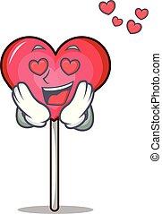 In love heart lollipop mascot cartoon vector illustration