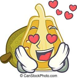 In love jackfruit mascot cartoon style vector illustration