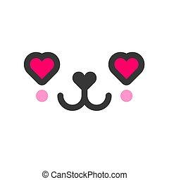 In love kawaii cute emotion face, emoticon vector icon