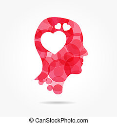 in love - man bubble head with heart instead of brain