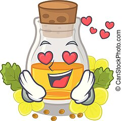 In love mustard oil wrapped in mascot box vector ...