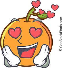 In love orange fruit cartoon character
