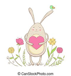 In love rabbit with heart