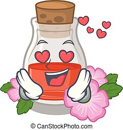In love rose seed oil the cartoon shape vector ilustration