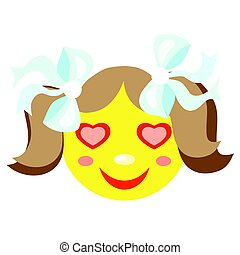 In love smiley girl. Icons on a white background. Vector...
