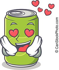 In love soft drink character cartoon vector illustration