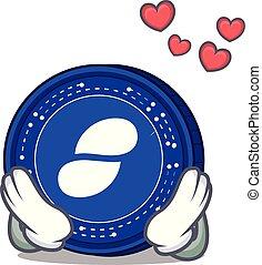 In love Status coin mascot cartoon
