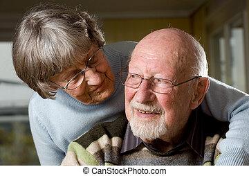 In love - Senior people in love. Studio picture