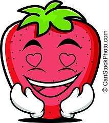 In love strawberry cartoon character