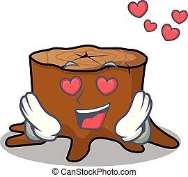 In love tree stump mascot cartoon