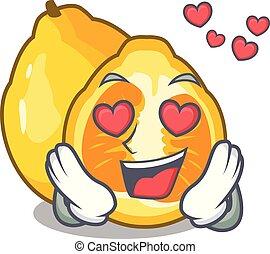 In love ugli fruit in the cartoon fridge vector illustration