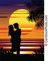 In love - Vector illustration of couple in love on the ...
