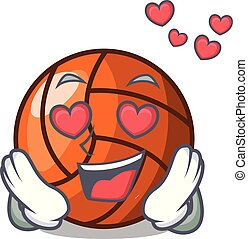 In love volleyball mascot cartoon style