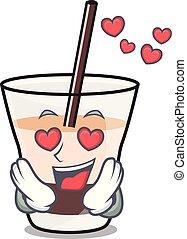 In love white russian mascot cartoon