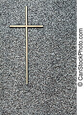 In Loving Memory - A close up shot of a plain simple cross...