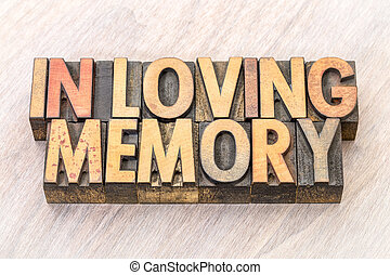 In loving memory word abstract in wood type