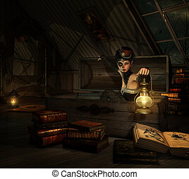 In my Attic, 3d CG - 3d computer graphics of a girl with...