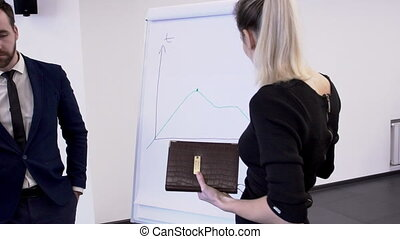 In office of colleague look at a meeting woman draws a graph on board.