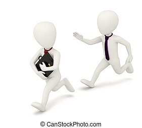 3D small people running businesses. 3D image. On a white background.