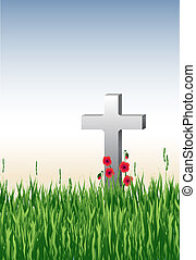 In Remembrance - Vector illustration of a war grave in long...