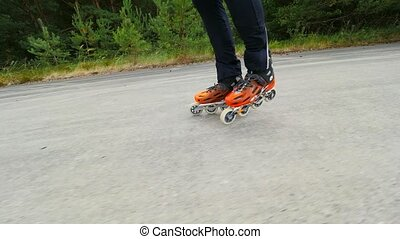 In roller skates at summer. 7th of July, Hradcany airport,...
