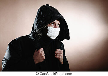 in, schützende maske