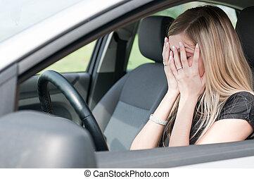 in, schwierigkeiten, -, unglücklich, frau, auto