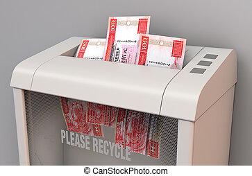 In Shredder - A regular office paper shredder in the process...