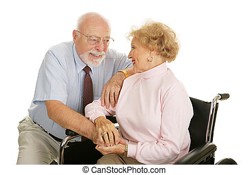 In Sickness and in Health - Loving senior couple coping with...