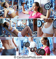 In sportive club - Portrait of sporty female doing physical...