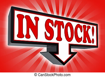 in stock sign with arrow down red and black on red striped...