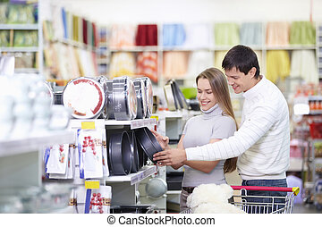 Attractive couple in the store