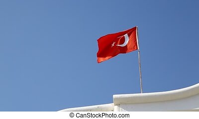 flag of turkey waving in the wind