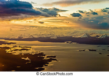 In the airplane close to Ushuaia sunset mood