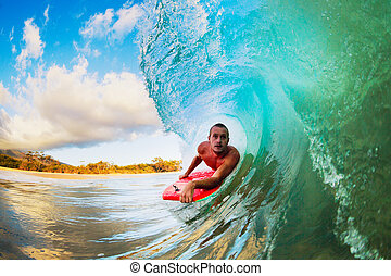 In the Barrel - Body Boarder on Large Wave Surfing in the...
