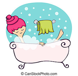In the bathtub - Young woman relaxing in the bathtub
