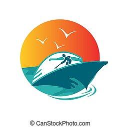 ship boat yacht sailing logo design in summer style vector illustrations
