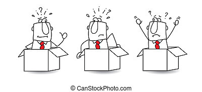 In the box - Three businessmen are in boxes. They can't...