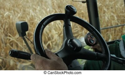 In the cab of combine harvester gathering corn - Close up in...