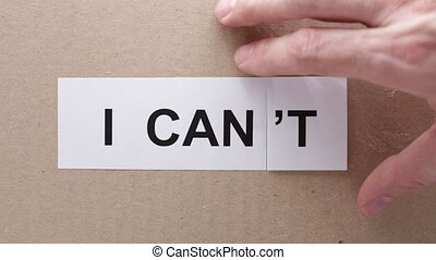 oncept of possible and decision - in the carboard the word...