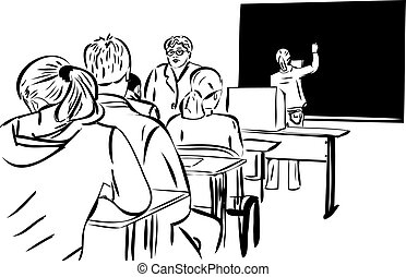 in the class and the girls at the blackboard