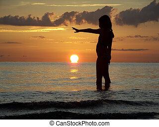 Spectacular sunset at Naples Beach, Florida.