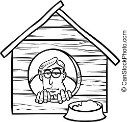 Black and White Cartoon Humor Concept Illustration of In The Dog House Saying or Proverb for Coloring Book