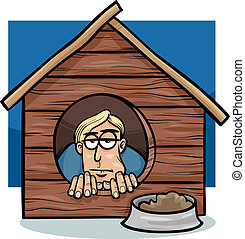 Cartoon Humor Concept Illustration of In The Dog House Saying or Proverb