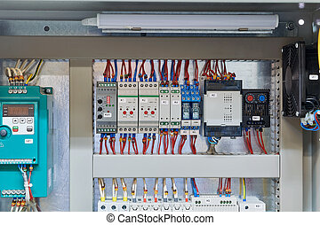 In the electrical Cabinet frequency Converter, controller, relay, thermostat.