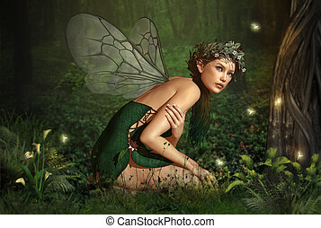 In the Fairy Forest - an illustration of a nymph who lives...