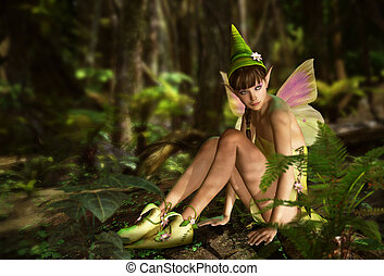 In the Fairy Forest - 3d CG graphics jungle scene with...